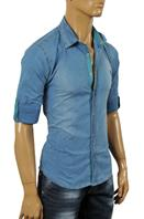 ROBERTO CAVALLI Men's Button Front Blue Denim Casual Shirt #315
